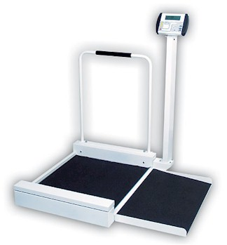 Detecto medical wheelchair scales - Detecto 6495 digital wheelchair scales offer the speed and increased accuracy that only electronic digital weighing can provide - weight in pounds or kilograms at the press of a button.
